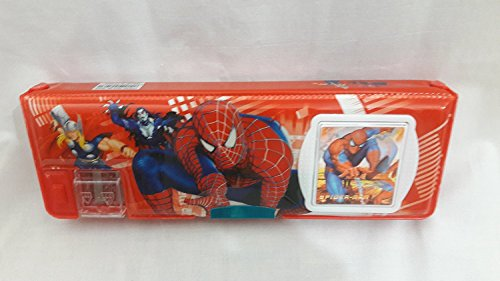 Hyde   Seek Spiderman Pencil Box with Calculator and Dual Sharpener  Red