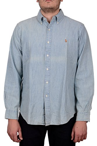 Polo Ralph Lauren Men's Slim Fit Pony Denim Chambray Shirt Denim XL (Ralph Polo Denim Lauren)