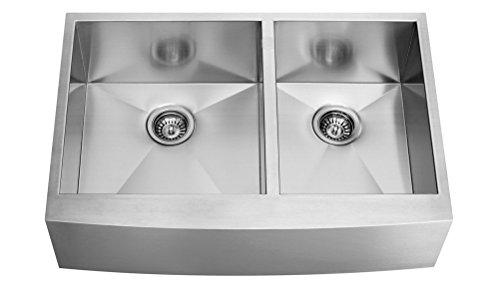 Farmhouse 33 Inch Stainless Steel Undermount Kitchen Sink 3320bl Apron Double by VFLINE