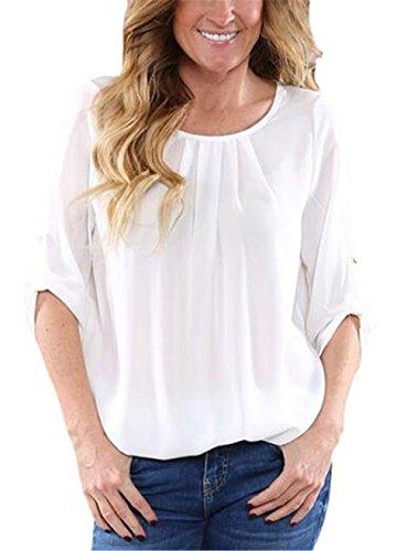 Blouse Haut Couleur Gogofuture Unie Shirt en Rond Vogue Courtes Femme T White Mousseline Elegant Col Chemises Tunique Dcontracte Manches Top wgw7p