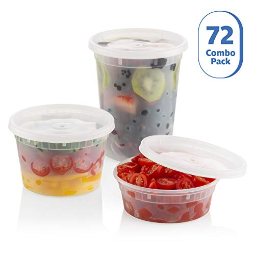ZEML 72 Sets Combo Pack Deli Food Storage Containers With Leak-proof Lids - 24 Sets 8 oz. 24 Sets 16 oz. & 24 Sets 32 - Pack Combo Food Container