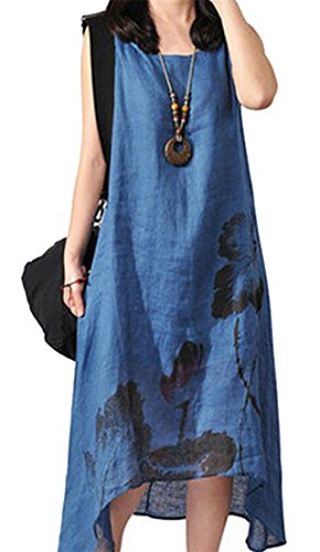 Cromoncent Blue Sleeveless Womens Dress Ethnic Print Sundress Cotton Mid Linen Loose rgSrHx