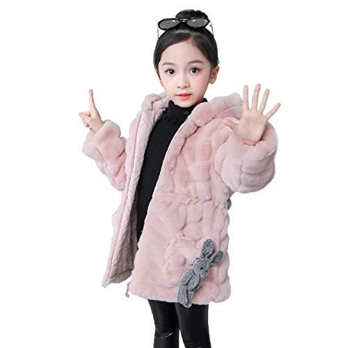 DorkasDE Meisjesmantel winterjas kunstbont jas bontjas warme jas met capuchon