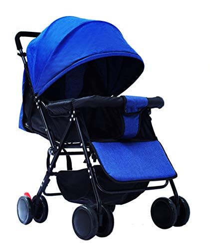 Lightweight Stroller Can Sit Reclining Portable 175 Degree Folding Umbrella Trolley Baby Car Fabric Removable Washable,Blue