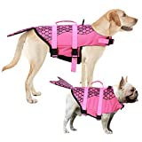 AOFITEE Dog Life Jacket Pet Safety Vest, Adjustable Dog Lifesaver Ripstop Pet Life