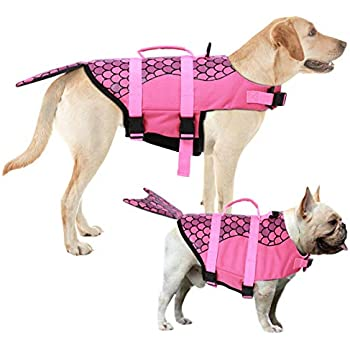 Beach Urijk Dog Life Jacket,Adjustable Dog Lifesaver Safety Reflective Vest,Pet Floatation Vest Swimsuit Safety Life Saver Preserver with Rescue Handle for River Boating Pool