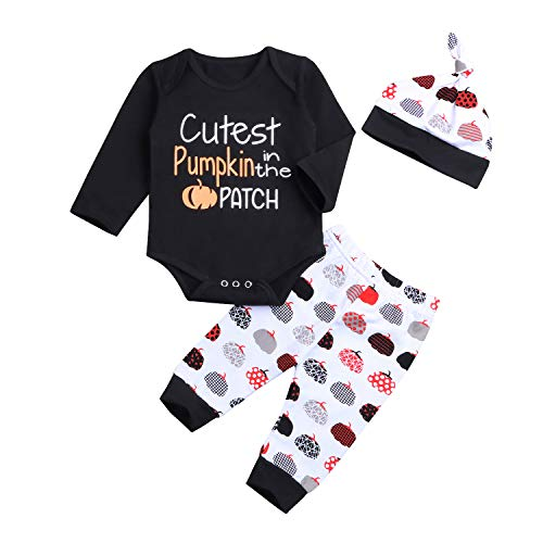 Infant Baby Halloween Outfit Funny Pumpkin Letter Print Long Sleeve Rompers Pants Hat Clothes Set (Black, 6-12 Months) -