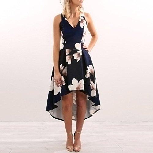 Vestidos mujer, Amlaiworld Vestido largo Boho flores para mujer Vestido largo de playa de verano de señoras Vestido de fiesta sin mangas de noche largos ...