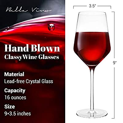 """Hand Blown Crystal Wine Glasses - Bella Vino Classy Red/White Wine Glass Made from 100% Lead Free Premium Crystal Glass, 16 Oz, 9"""", Perfect for Any Occasion, Great Gift, Set of 2"""