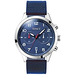 Men's Wrist Watch - Stainless Steel With Dark Blue Genuine Leather Strap - Precision Chronograph, Japanese Quartz - Ryan Collection By Reina V