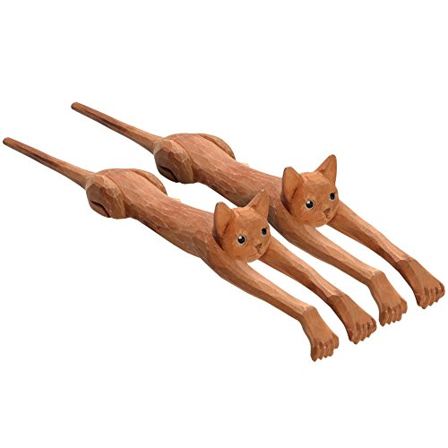 (WHAT ON EARTH Set of 2 Funny Basswood Cat Back Scratchers - Exclusive from)