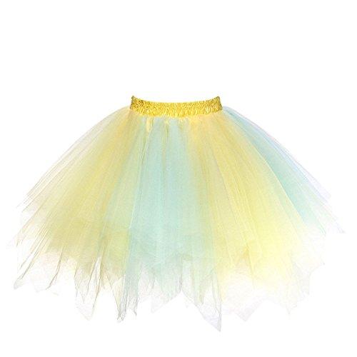 URVIP Women's Vintage 1950s Tutu Multicolor Petticoat Ballet Bubble Dance Skirt Yellow Baby Blue -