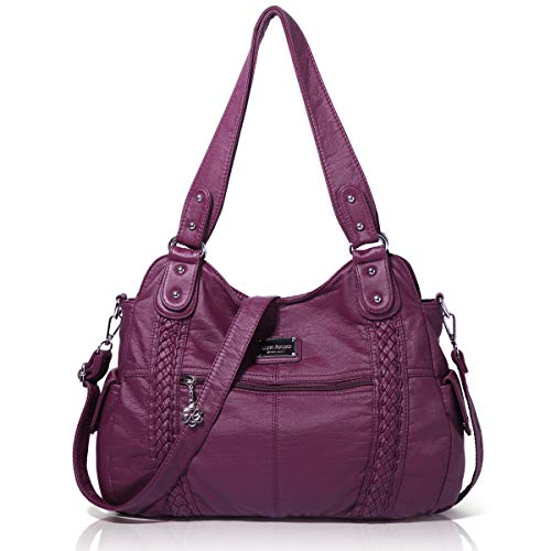 Angel Barcelo Roomy Fashion Hobo Womens Handbags Ladies Purse Satchel Shoulder Bags Tote Washed Leather Bag Purple