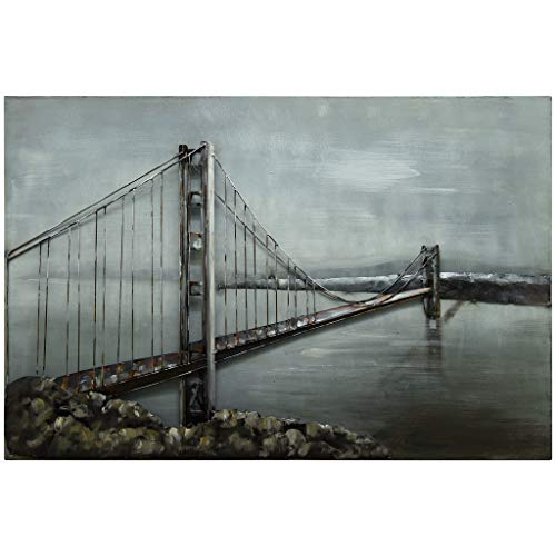 Empire Art Direct Golden Gate Bridge Metal, Hand Painted Primo Mixed Media Iron Sculpture, Decor,Ready to Hang,Living Room, Bedroom & Office 3D Wall Art 48 in. x 2.4 in. x 32 in. Grey