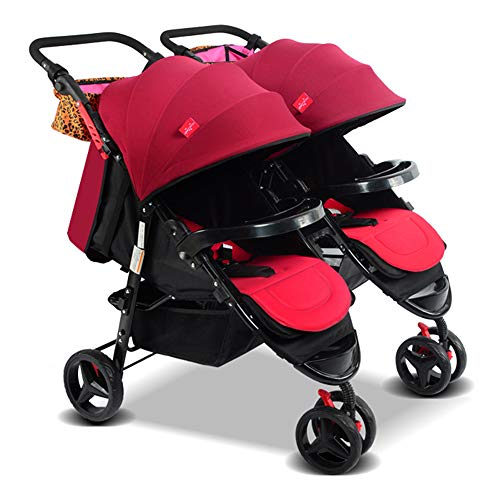 Double Baby Stroller Detachable Twin Tandem Bassinet Pram Carriage Stroller Adjustable Sit and Stand Four Seasons Universal (Red)