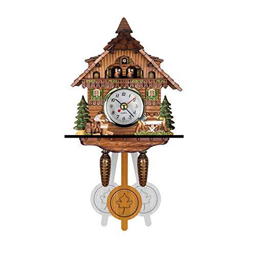 Cuckoo Clock, Mortilo Wall Hanging Clock, Handcrafted Wooden Wall Clock House Hanging Cuckoo Wall Clock for Bedroom Living Room School Office Decoration (Style D)