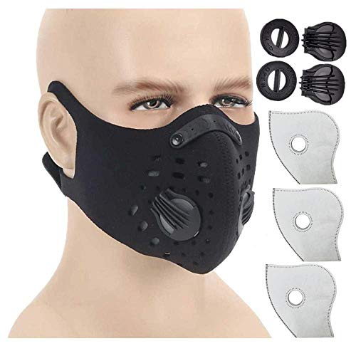 ust Mask with N99 Activated Carbon Mask Filter for Exhaust Gas, Pollen Allergy, PM2.5, Running, Cycling and Other Outdoor Activities ()