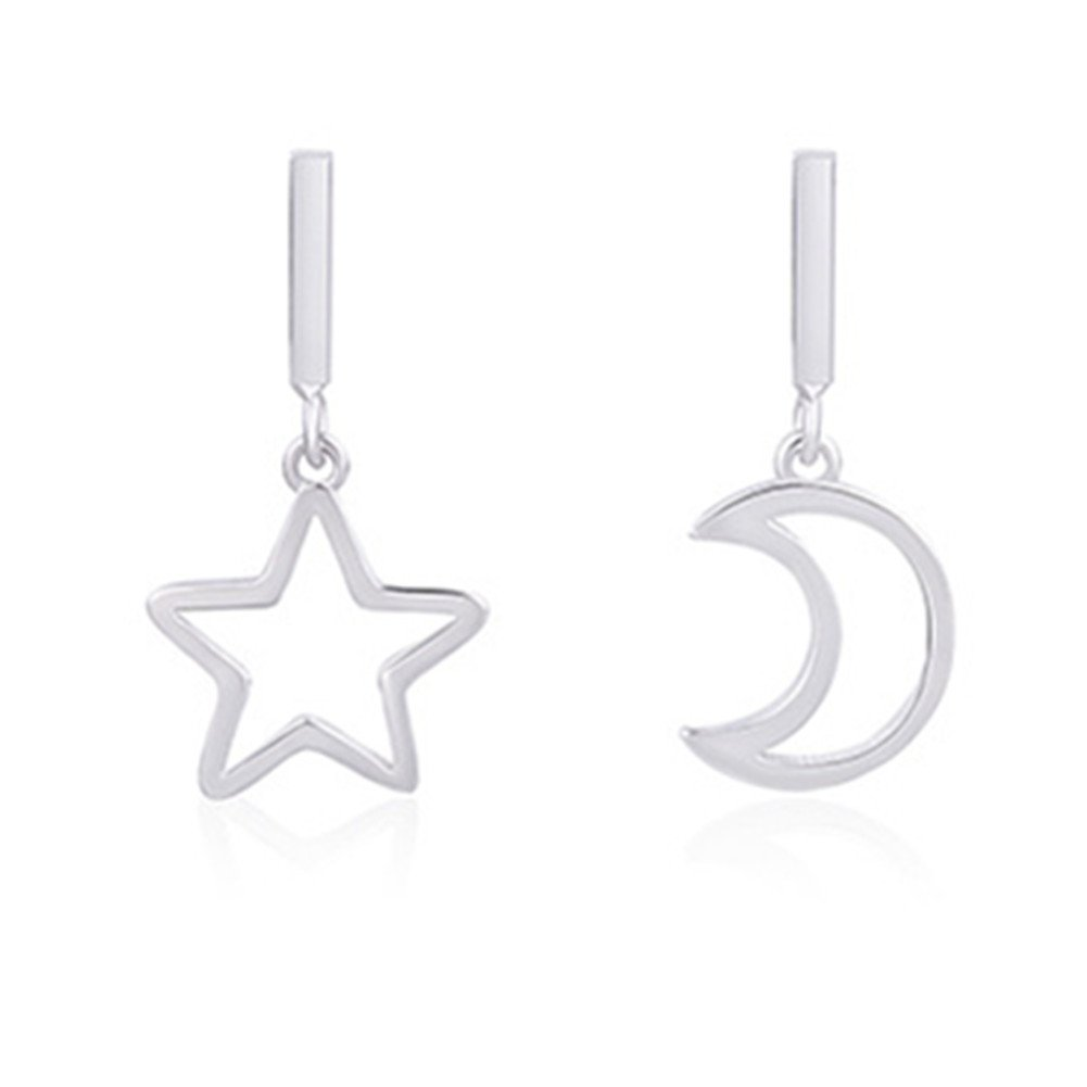 Sterling Silver Plated irregular Hollow Moon and Five-pointed Star Ear Long tassel Drop Stud Earrings
