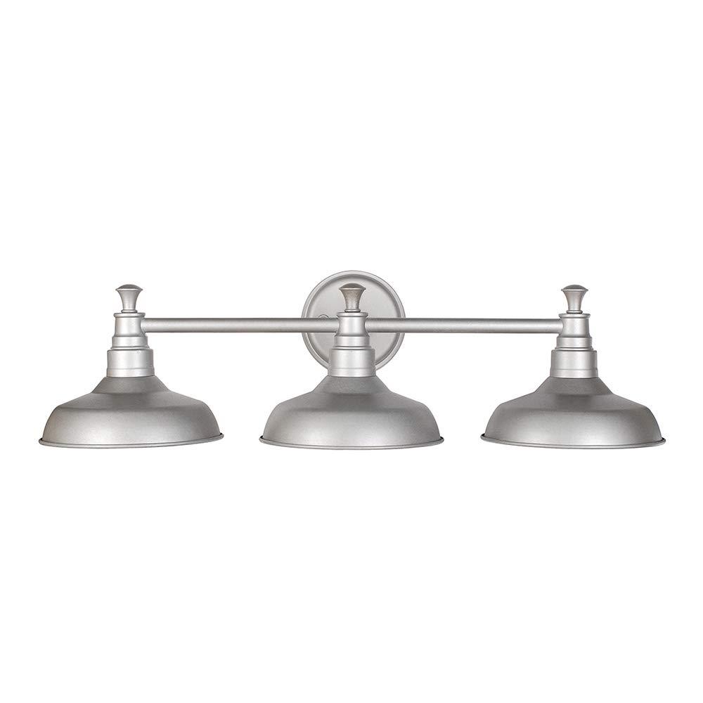 Design House 520312 Kimball 3 Light Vanity Light, Galvanized Steel Finish