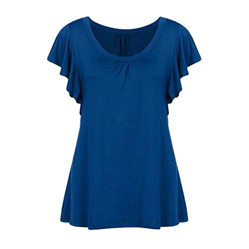 QinMM Femmes T-Shirt Tops Gilet Manches Volantes Courtes Mode Slim Lache O Cou Blouse Dbardeur Chemises Pliss Casual Flowy Tee-Shirt Tunique Dame Grande Taille Bleu