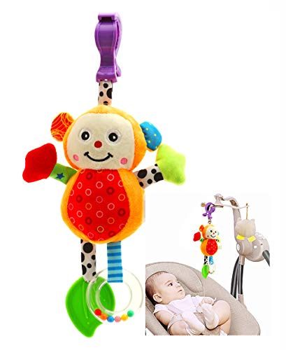 eurofield Baby Plush Rattle Toy, Hanging Stroller Toy with Squeaker,Teether, Colorful Monkey Animal Stuffed Plush Toy for Kid (Monkey, 7.9