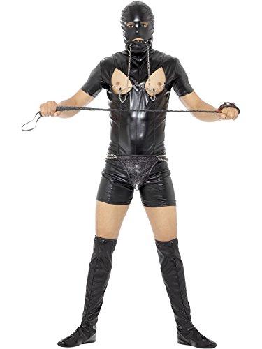 The Gimp Halloween Costume (Smiffy's Men's Bondage Gimp Costume with Bodysuit, Black, Medium)
