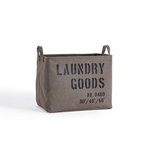 Canvas Laundry - Danya B. LY117 Decorative Canvas Laundry Basket with Handles - Portable Collapsible Foldable Clothes Hamper - Khaki Green