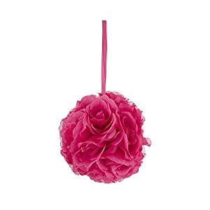 Mega Crafts Fuchsia Artificial Rose Pomander Kissing Ball 8'' | Hanging Ribbon Fabric Flower Décor | Wedding Receptions, Party Decorations, Backdrop Wall, Event Planning, Birthdays & Baby Showers 14