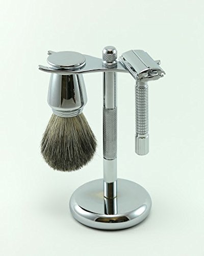 GBS Grooming Set – 3 Piece Wet Shave Kit – Open Butterfly DE Safety Razor Chrome Textured Handle + Pure Badger Hair Shaving Brush Chrome Handle + Stainless Steel Brush & Razor Stand + 5 Safety Blades