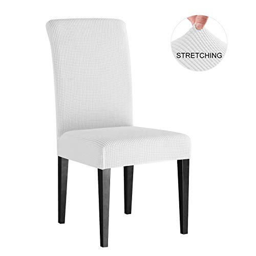 Subrtex Dining Chair Slipcovers, Super Stretch Stylish Furniture Cover/Protector, Slip Resistant High Chair Cover, Removable Washable (4 Pieces, Off-White Checks) (Dining Chair Covers White)