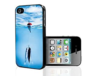 Fishing in Clear Blue Water with Hook, Line and Baitfish Hard Snap on Phone Case (iPhone 4/4s) by icecream design