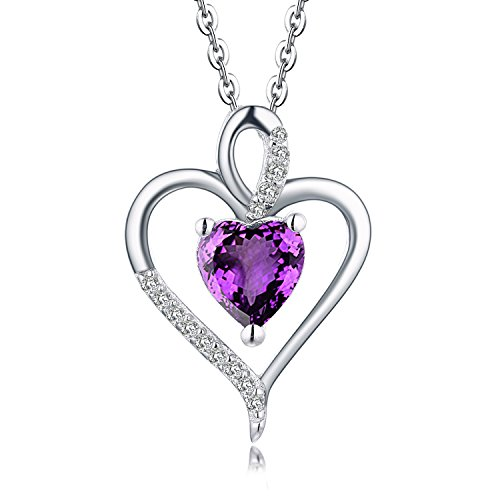 YL 14K White Gold Diamond & Natural Amethyst Heart Pendant Necklace (1.27 Carats, H-I Color SI Clarity)