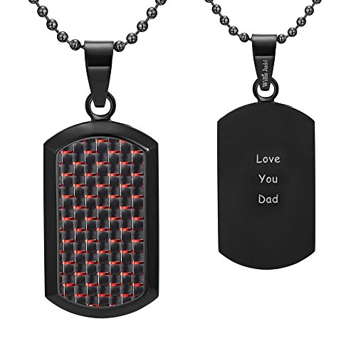 - Dog Tag Pendant with Red Carbon Fiber engraved Love You Dad with 22