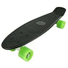 "Raptor (TM) SKATEBOARD RETRO BANANA BOARD 22"" BLACK DECK W/ Yellow WHEELS (Black on Green)"