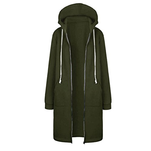 DaySeventh Women Zipper Open Hoodies Sweatshirt Long Coat Jacket Tops Outwear (M, Army Green)