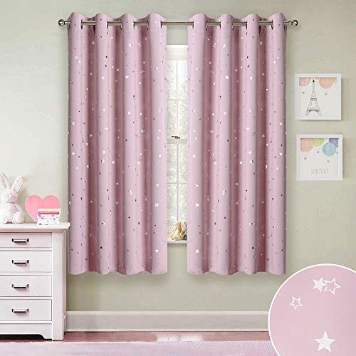(RYB HOME Room Darkening Curtains for Girl's Room Decor Printed Star Pattern Window Covering Light Block Sound Weaken Insulated Christmas Curtains for Kids Room Nursery, Light Pink, 52 x 63 inch, 2 Pcs)