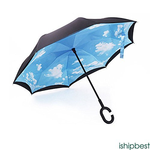XENO-Reverse Parasols Sunny and Rainy Umbrella Windproof Inverted Folding Umbrella(blue - Sky Map Harbor