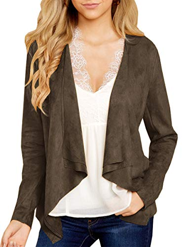Tutorutor Womens Raw Cut Coat Open Front Faux Suede Cardigan Lightweight Solid Trench Tops (Large, Brown)