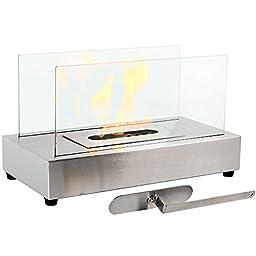 Sunnydaze Stainless Steel El Fuego Ventless Tabletop Bio Ethanol Fireplace