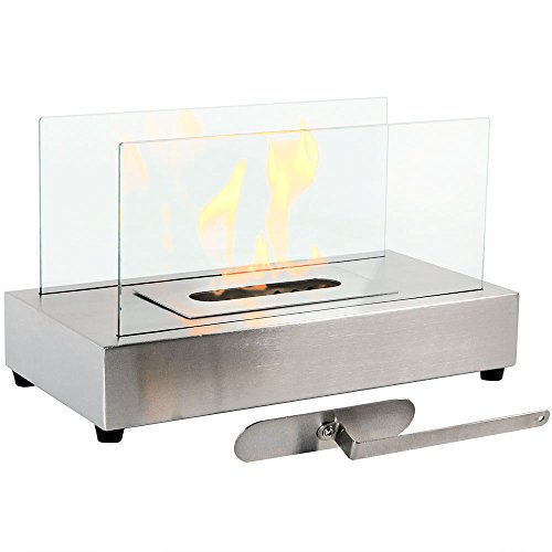 Sunnydaze Stainless Steel El Fuego Ventless Tabletop Bio Ethanol Fireplace