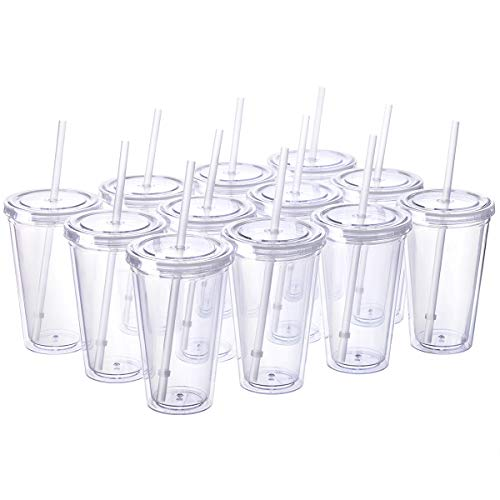Cupture Classic 12 Insulated Double Wall Tumbler Cup with Lid, Reusable Straw & Hello Name Tags - 16 oz, Bulk Pack (Clear) -
