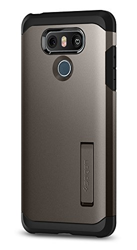 Price comparison product image Spigen Tough Armor LG G6 Case with Kickstand and Extreme Heavy Duty Protection and Air Cushion Technology for LG G6 (2017) - Gunmetal