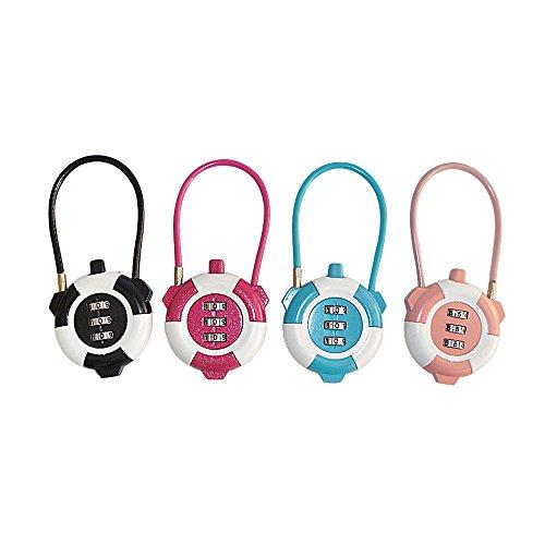 Zhi Jin 5Pack Cute Luggage Combination Lock Cable Padlock Code Locks Gym Lockers Bulk Sports School