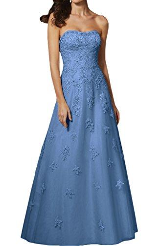 Victory Bridal Traumhaft Spitze Traegerlos Damen Abendkleider  Abschlussfeier Promkleider Ballkleider Lang Alinie 46 Dunkel Blau
