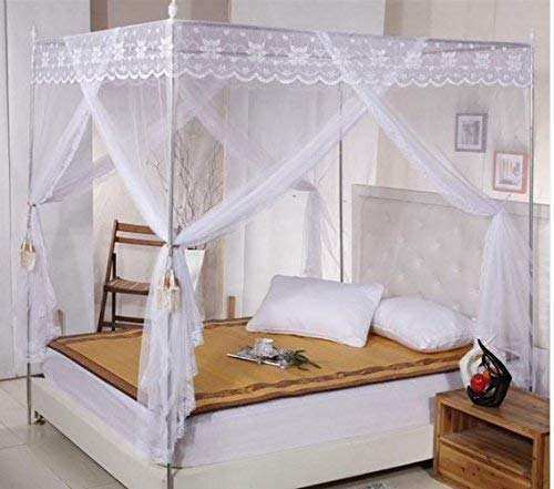 Ka canopy bed Elegant White Four Corner Square Princess Bed Canopy Mosquito Netting (Twin)