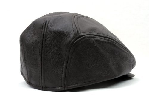 Brown Large//XLarge Made in USA NYFASHION101 Mens Genuine Leather Ivy Cap
