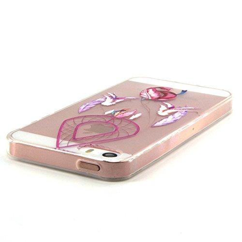 Voguecase® für Apple iPhone 5 5G 5S hülle, Schutzhülle / Case / Cover / Hülle / TPU Gel Skin (Campanula Feder 09) + Gratis Universal Eingabestift