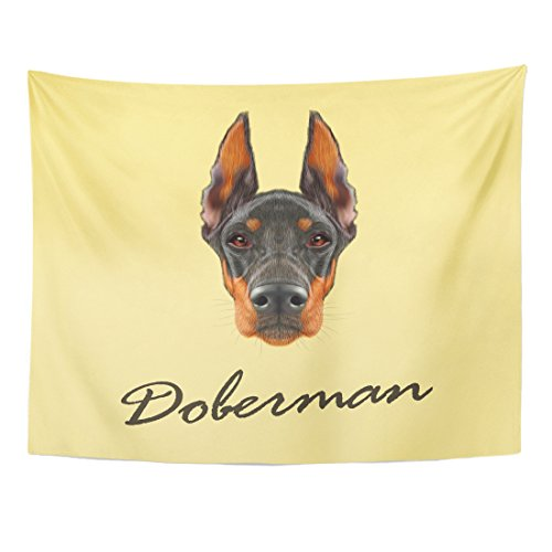 Doberman Pinscher Tapestry (VaryHome Tapestry Brown Face Doberman Pinscher Dog Portrait of Black on Yellow Red Animal Home Decor Wall Hanging for Living Room Bedroom Dorm 60x80 Inches)