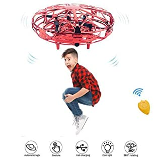 Hand Operated Drones for Kids,Scoot Drone Hands Free,Infrared Induction Motion Controlled UFO with Obstacle Avoidance,360° Rotating Fly,Christmas,Birthday Gift for Boys or Girls.(Red)