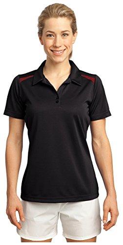Sport-Tek Women's Vector Sport Wick Polo M Black/True Red